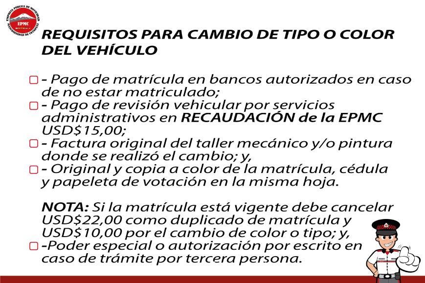CAMBIO DE TIPO O COLOR DEL VEHÍCULO