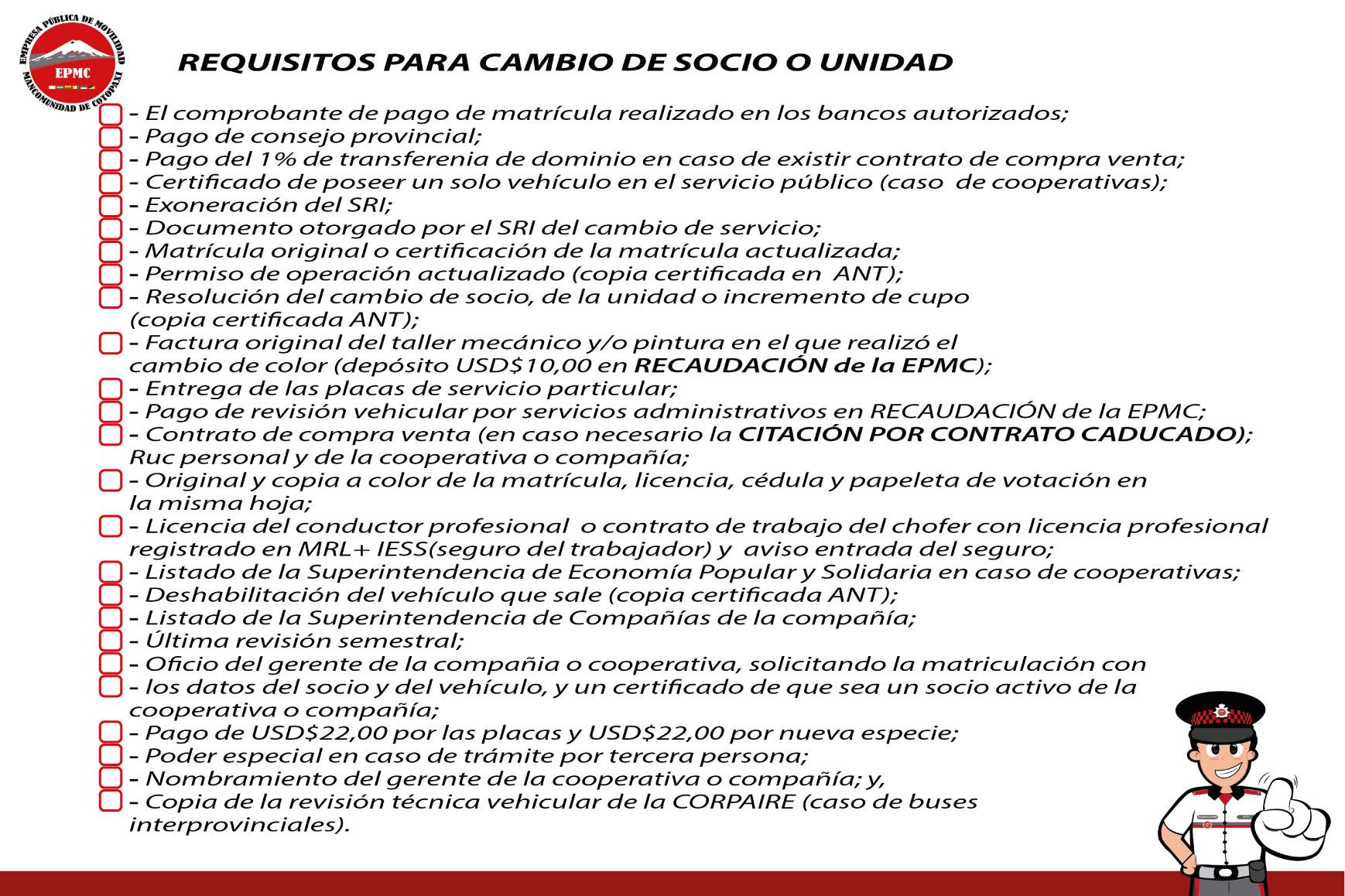 CAMBIO DE SOCIO O UNIDAD