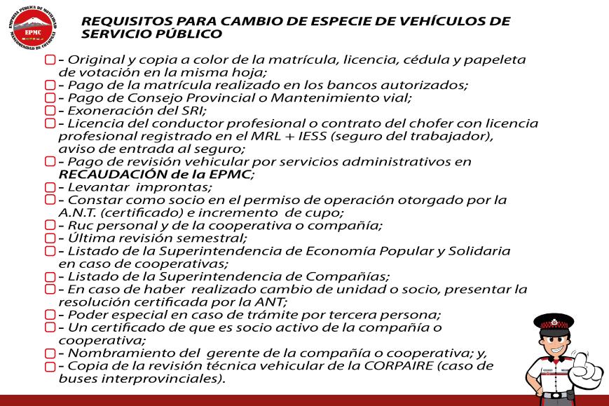 CAMBIO DE ESPECIE DE VEHÍCULOS DE SERVICIO PÚBLICO